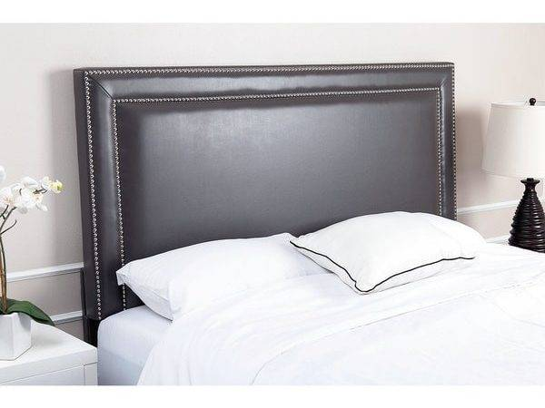 Abbyson Living Tamey Nailhead Trim Grey Leather Headboard