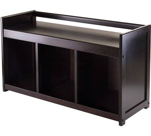 Addison Entryway Storage Bench Espresso Walmart
