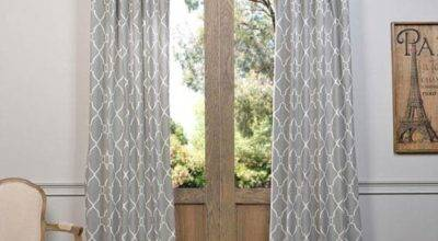 Aiden Gray Inch Printed Cotton Curtain Single