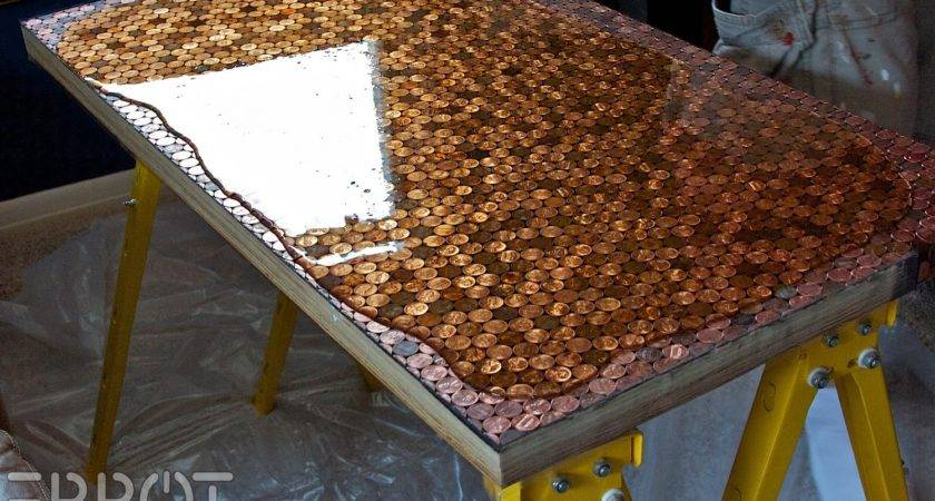 Amazing Diy Table Made Pennies Diply