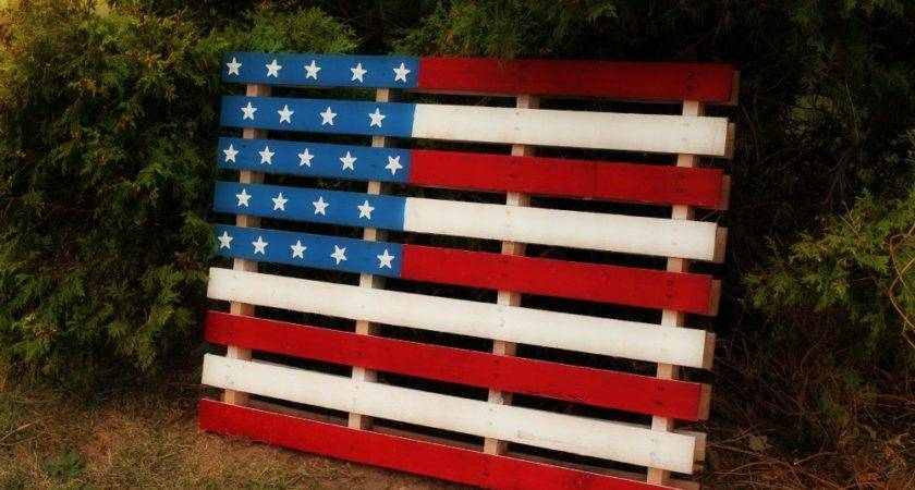 American Flag Painted Wood Pallet