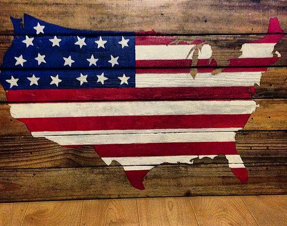 American Flag Wood United States America