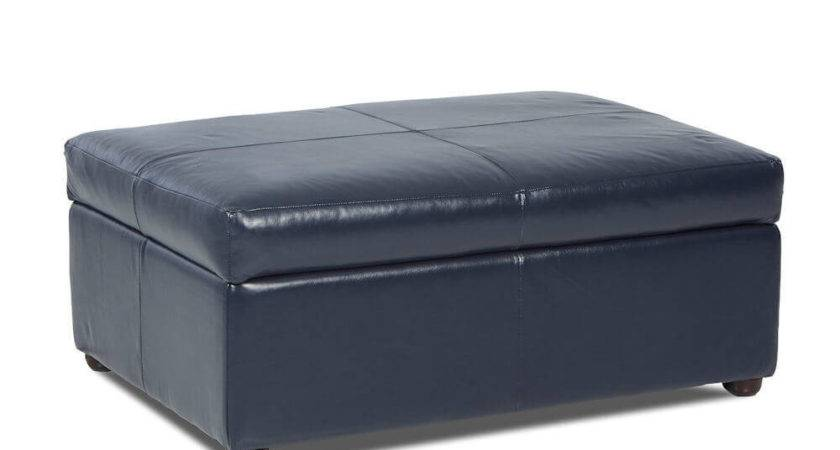 American Made Leather Storage Ottoman April
