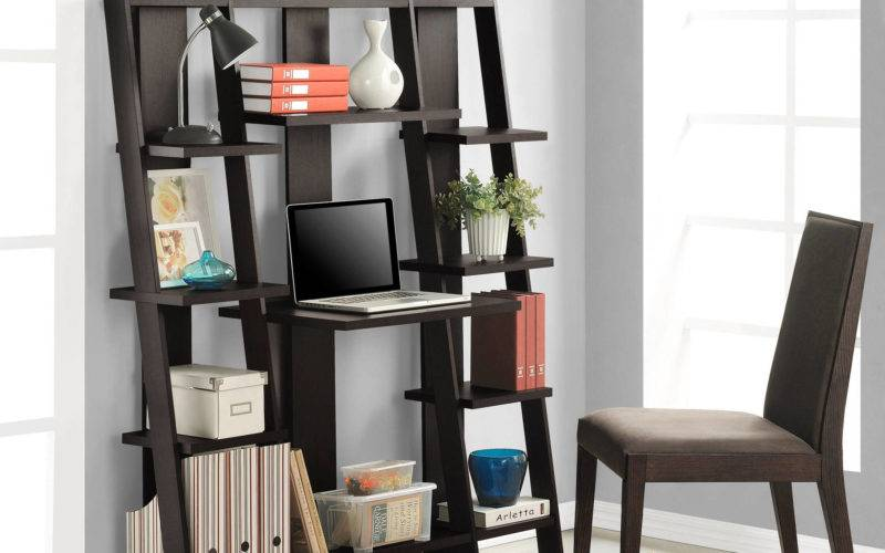 Ameriwood Home Gradient Ladder Desk Bookcase Espresso Ebay