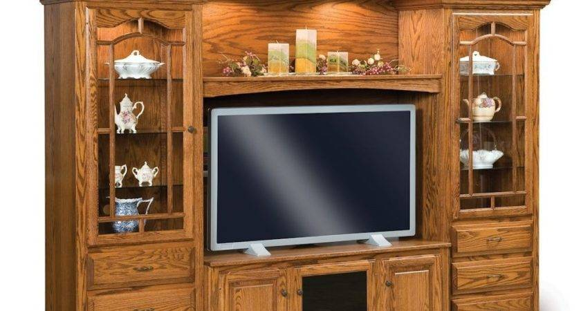 Amish Entertainment Center Solid Oak Wood Media Wall