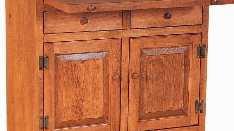 Amish Pine Kitchen Microwave Stand Serving Pullout