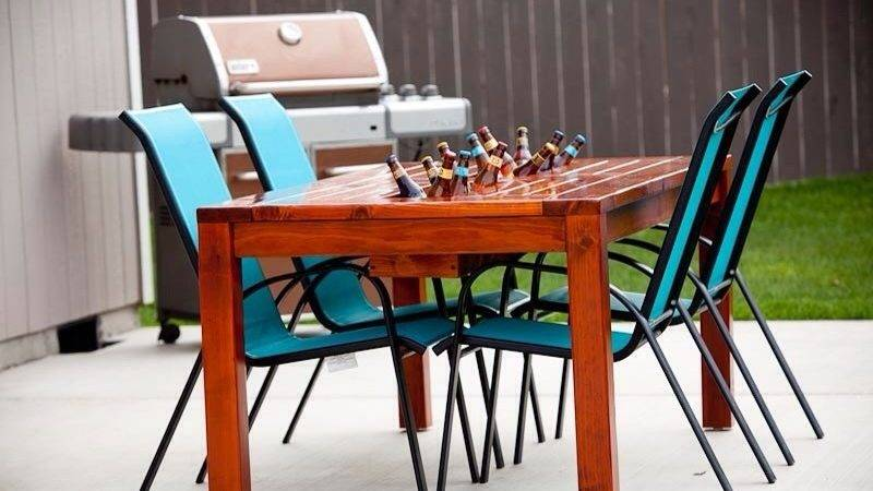 Ana White Patio Table Built Beer Wine Cooler Diy
