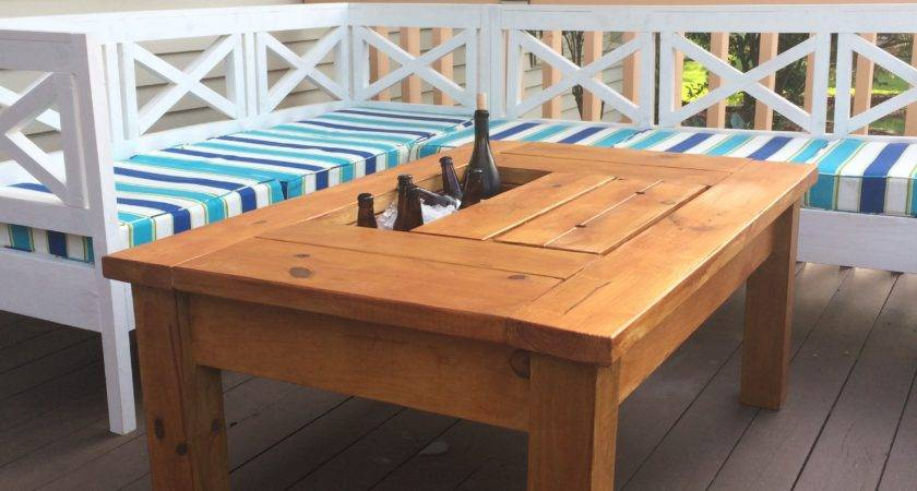 Ana White Patio Table Built Beer Wine Coolers