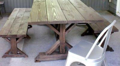 Anthro Inspired Outdoor Farmhouse Table Benches Diy