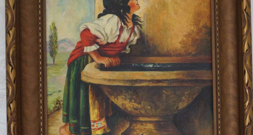 Antique Oil Painting Canvas Frame Roman Girl