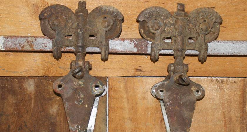 Antique Pair Myers Stayon Barn Door Rollers Double