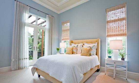 Apricot Pastel Blue Bedroom Interiors Color