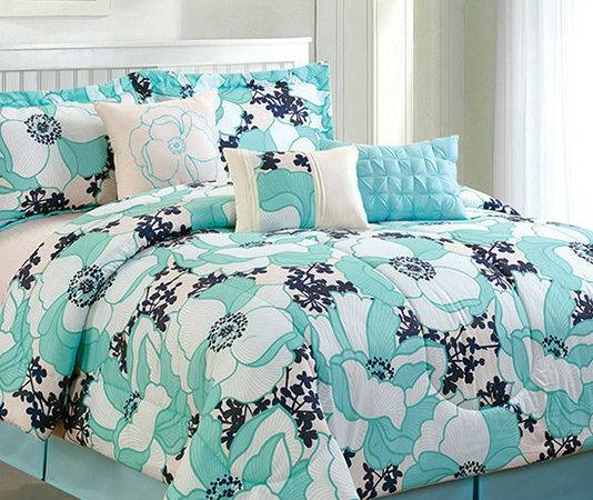 Aqua Black Romenya Comforter Set Contemporary Comforters