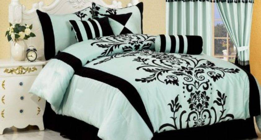 Aqua Blue Bedroom Cute Black White Comforters
