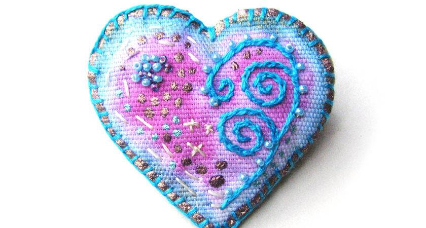 Aqua Hand Painted Heart Embroidered Pin Fiber Art
