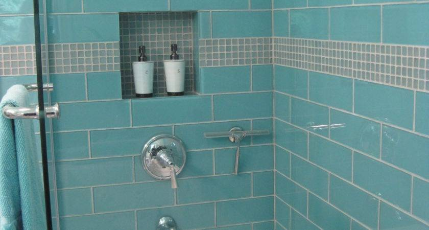 Aqua Large Glass Subway Tile Shower Enclosure