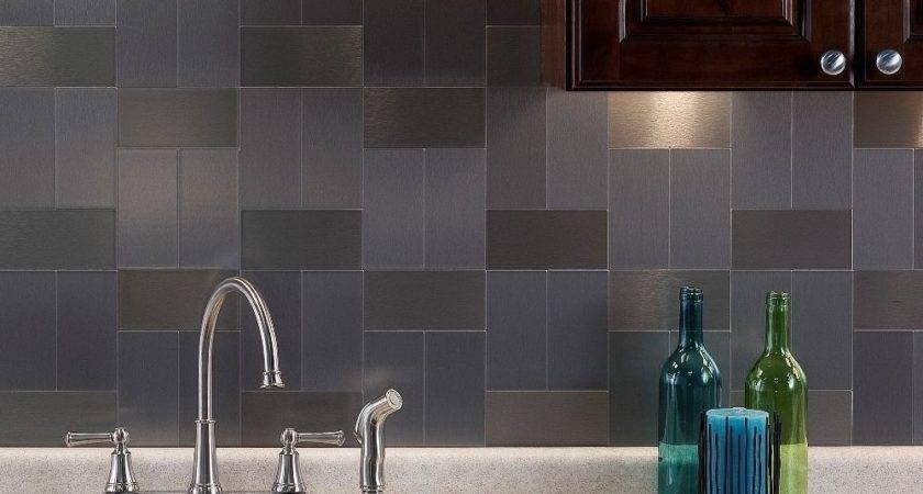 Aspect Inch Brushed Stainless Long Grain Metal Tile