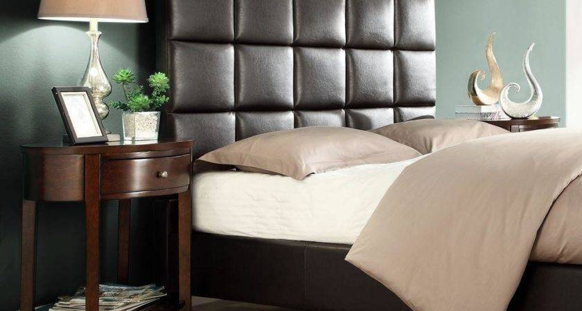 Astounding Brown Tufted Leather Sleigh Bed Design
