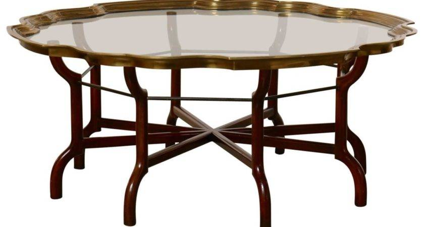 Baker Brass Glass Round Tray Top Coffee Table Stdibs
