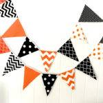 Banner Bunting Fabric Pennant Flags Orange Black Chevron