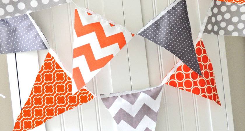 Banner Bunting Fabric Pennant Flags Orange Grey Chevron