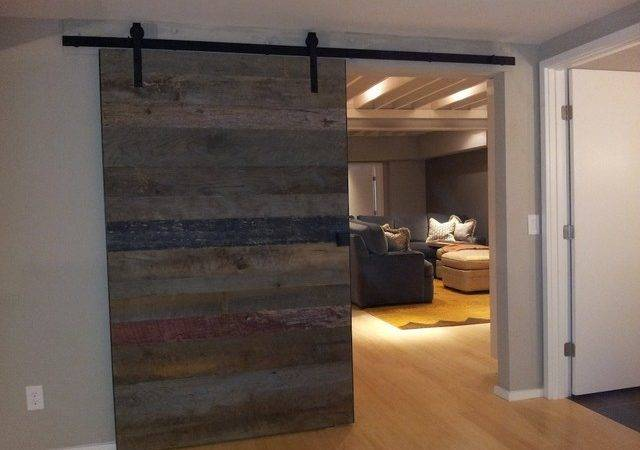 Barn Wood Accent Wall Sliding Door Rustic