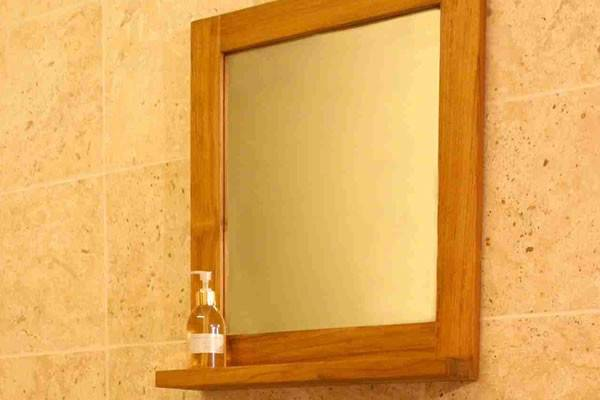 Bathroom Shelf Mirror Teak