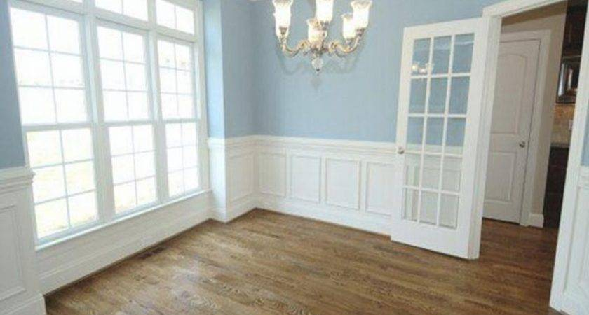 Bedroom Crown Molding White Wainscoting Blue Walls
