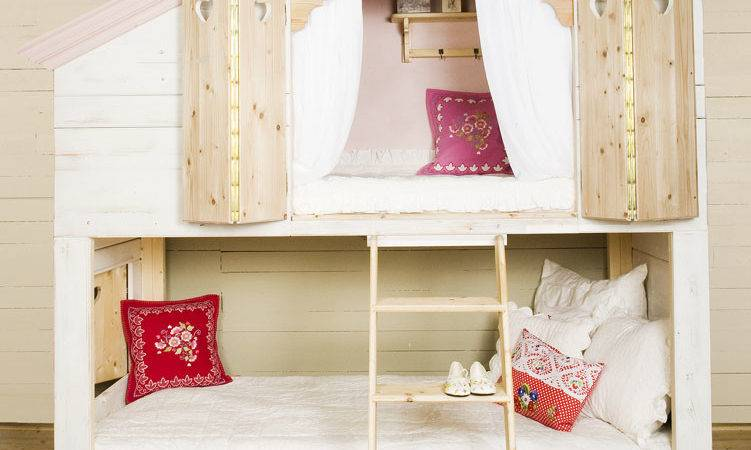 Bedroom Designs Unique Girl Bunk Beds House Shape Wooden