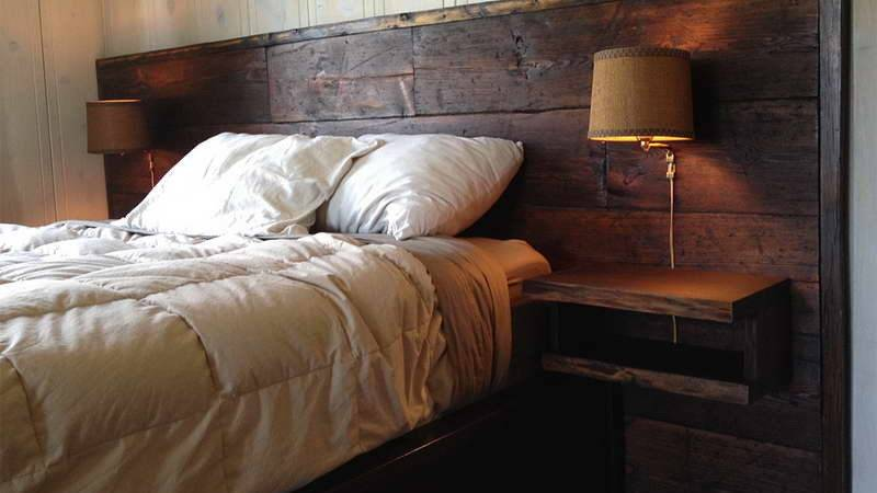 Bedroom Reclaimed Wood Headboard Wall Lamp