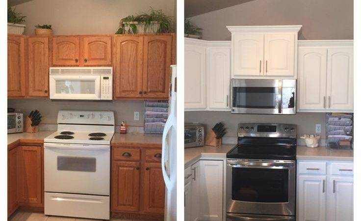 Before After Kitchen Added Crown Molding New Taller