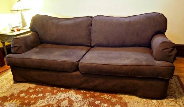 Before After Old Couch New Custom Slipcover