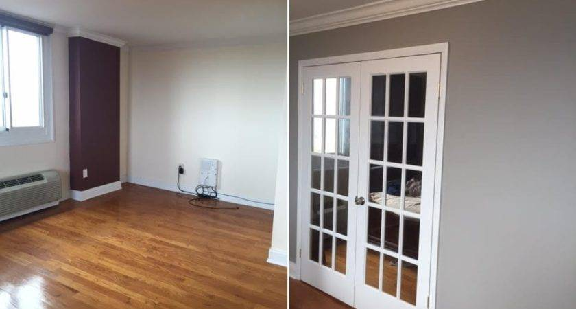 Before After Temporary Wall Double French Doors
