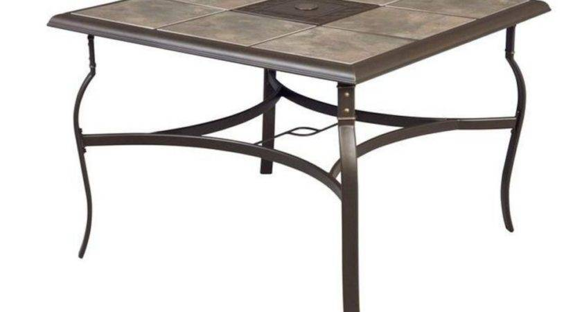 Belleville Square Patio Dining Ceramic Tile Top Table