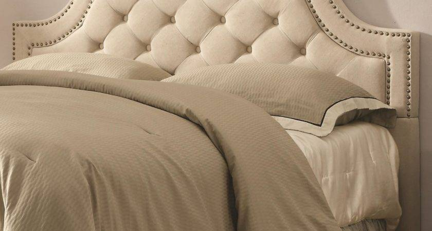 Biege Tufted Upholstered Headboard Nailhead Trim