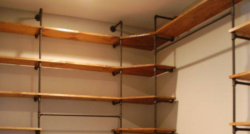 Black Closet Organizers Industrial Pipe Wood