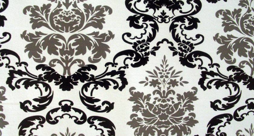 Black Grey Damask Contact Paper