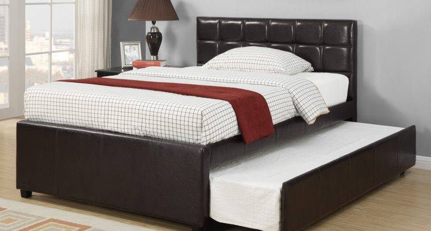 Black Leather Bed Frame Trundle Padded