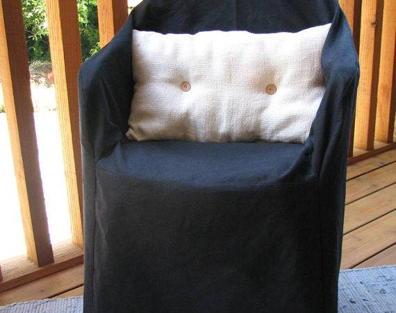 Black Resin Chair Organic Slipcover Hemp Cotton