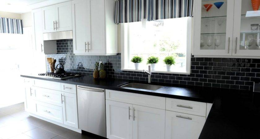 Black Subway Tile Kitchen Backsplash Home Design