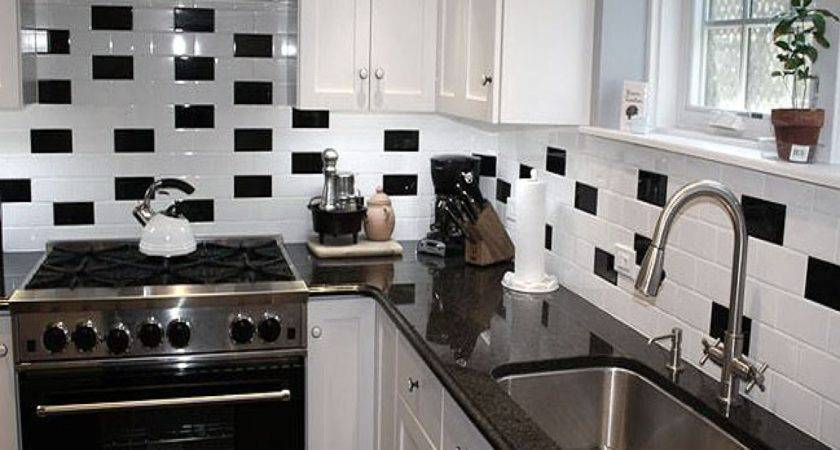 Black White Tiles Kitchen Subway
