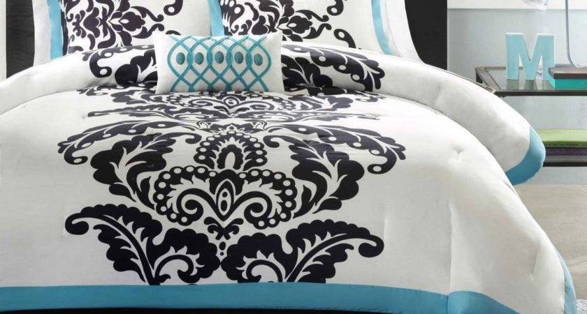 Black White Turquoise Bedding Sets