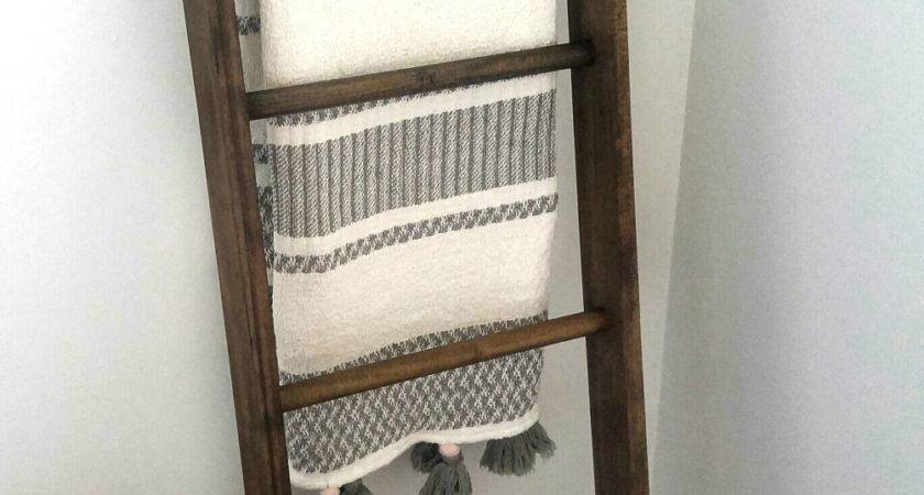 Blanket Ladder Rustic Wood
