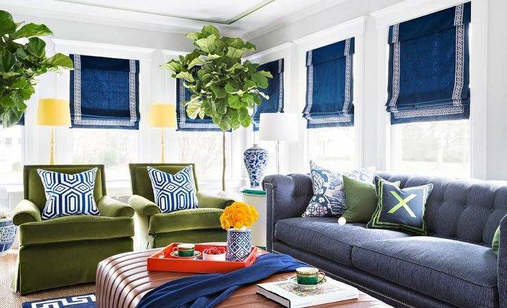 Blue Green Living Room Chesterfield Sofa