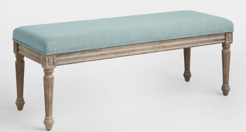 Blue Linen Paige Upholstered Dining Bench World Market