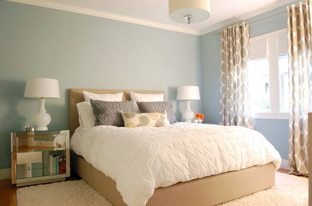Blue Walls Contemporary Bedroom Benjamin Moore Beach