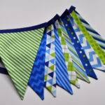 Boys Blue Green Fabric Pennant Banner Bunting