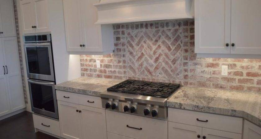 Brick Backsplash Kitchen Presented Soft Colors