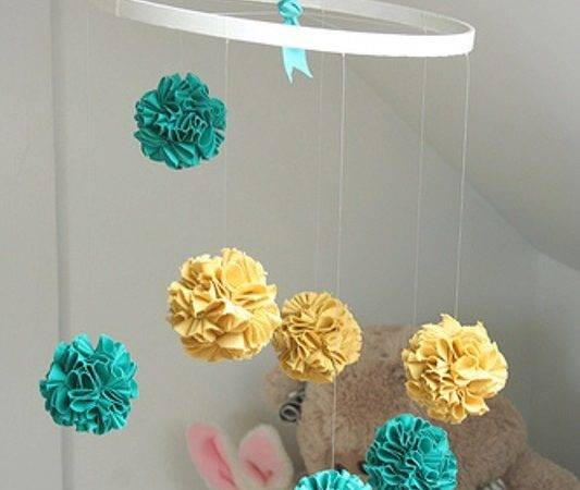 Bright Diy Fabric Pom Baby Crib Mobile Make