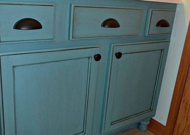 Builders Grade Teal Bathroom Vanity Upgrade Only